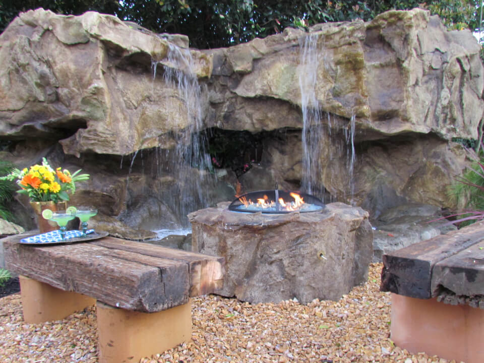 Water Feature and Firepit Installation