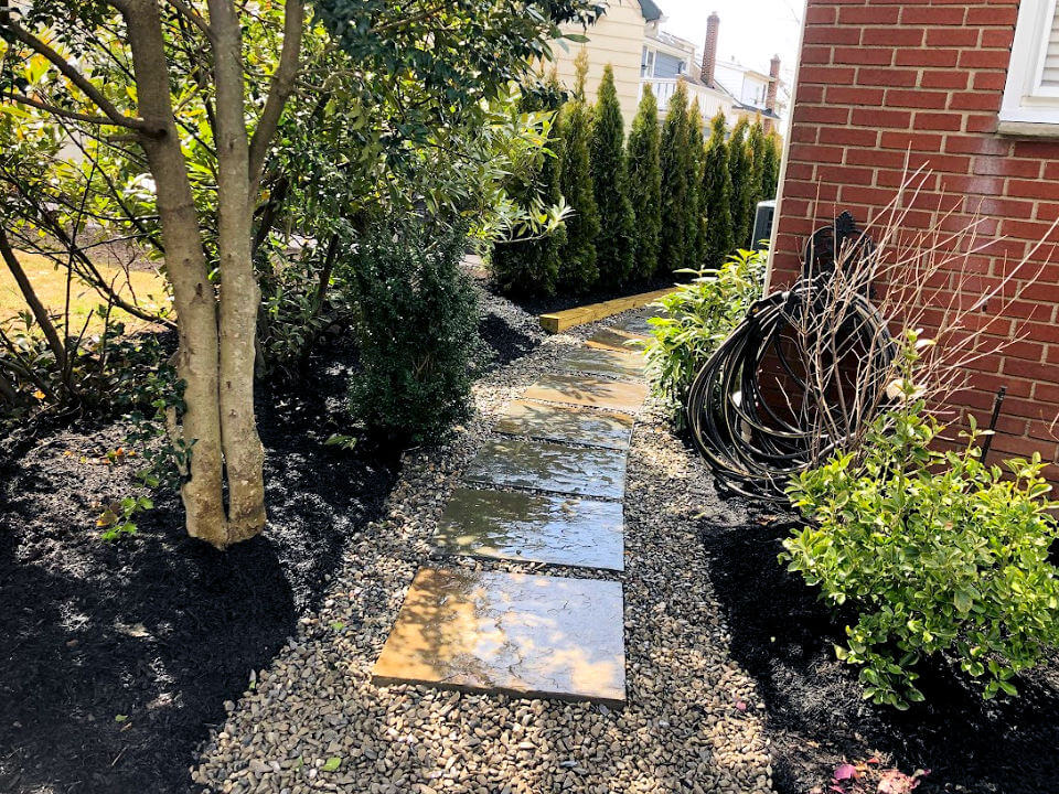 Rain Garden with Trees, Shrubs, Swale and River Stone